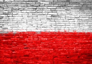 Polish flag on wall